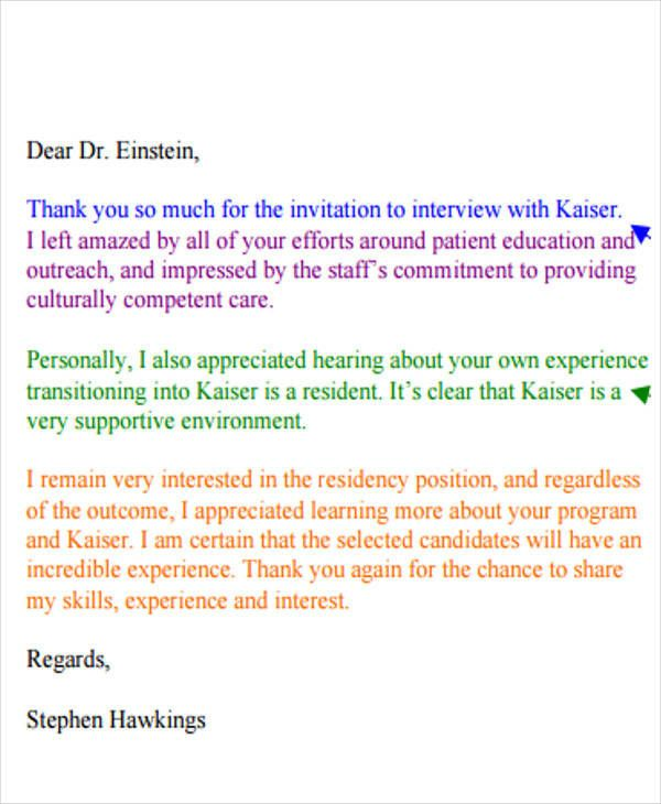 Residency Interview Thank You Letter Inspirational 40 Sample