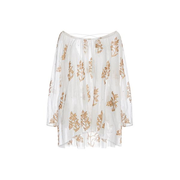 Juliet Dunn     Cotton Mini Caftan with Floral Detail ($151) ❤ liked on Polyvore featuring tops, tunics, dresses, floral tunic, embroidered top, flower print tops, kaftan tops and embroidered kaftan