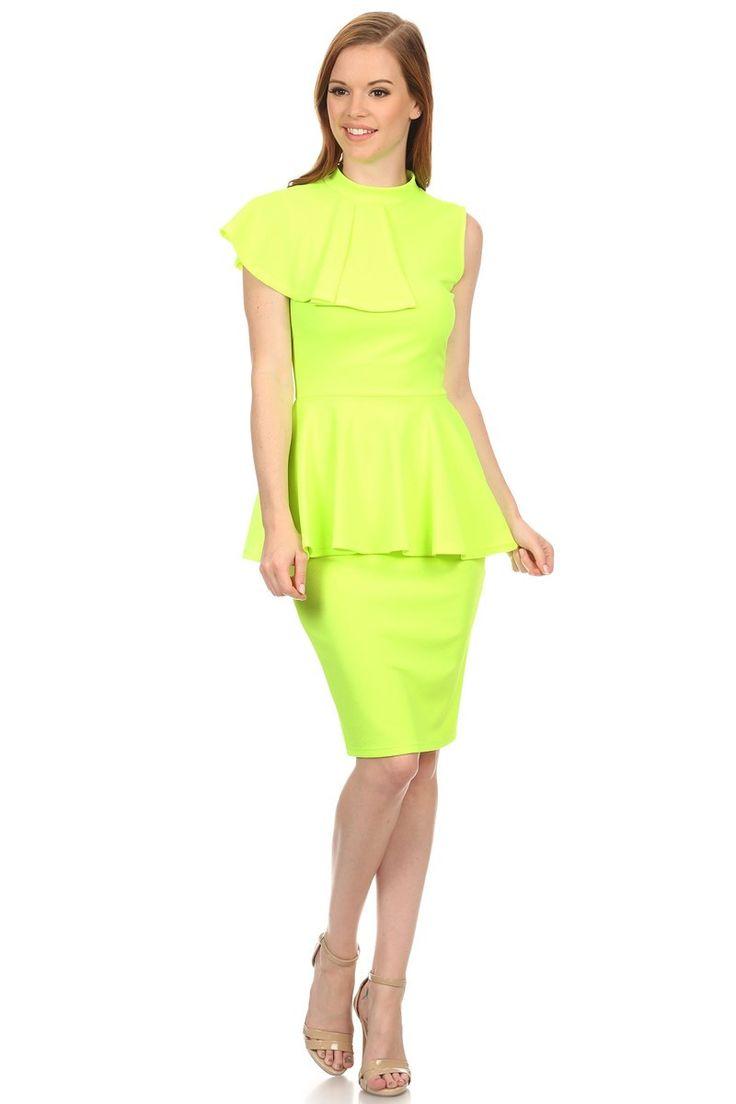 Lime Light Side Rock Peplum Midi Dress