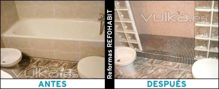 Cambiar bañera por plato de ducha de obra con gresite y pavés en Viladecans.