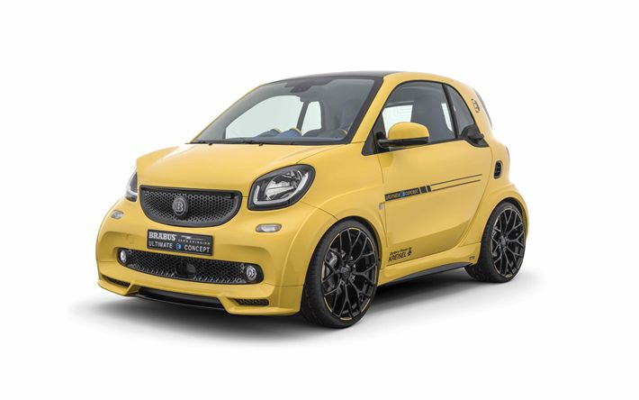 Download wallpapers Brabus, tuning, Smart Fortwo, 4k, 2017 cars, compact cars, Smart