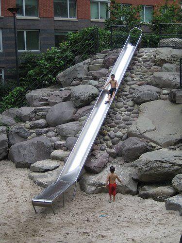 Michael Van Valkenburgh Associates Teardrop Park New York City, NY  Urban Park, Kids, Sand, Rocks