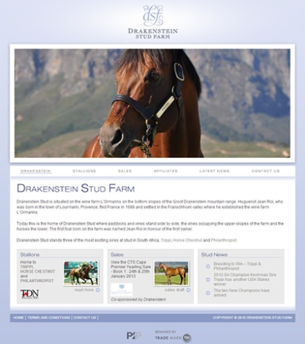 Drakenstein:      A classic and elegant website that was designed for Gaynor Rupert's Drakenstein Stud Farm. The site is fully interactive which is simple and straight to the point. We think it is our best website we have designed to date.