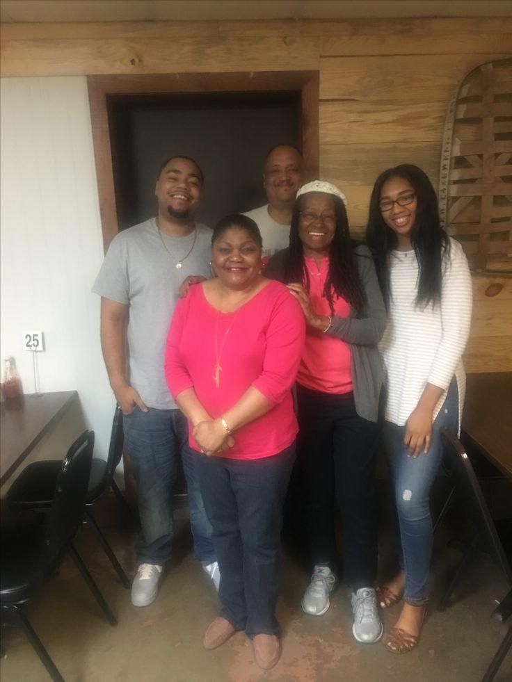 Having dinner at Pickles restaurant on Friday night in Tupelo, Miss with Ken, Geraldine, Kiara, Robert and Me..2017.