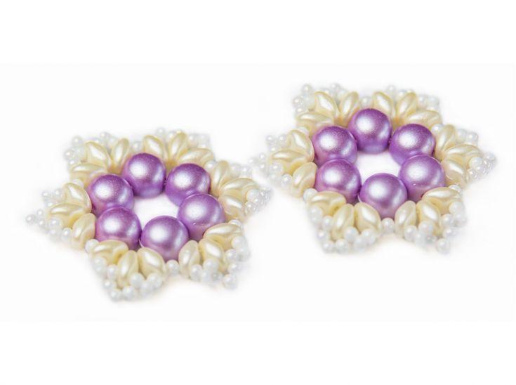 "Exclusive beading Kit for making two jewelry DIY ""Snowflake"" (Pink-Beige)Decoration ""Snowflake"" diy-jewelry-beading-kit/dekoration-snowflake #scarabeads #galinacheremisina #beads #handmade #diy  #tutorial #fashion #style #gifts #snowflakes #newyear #beading #beadedjewelry #бисер #новыйгод #бисероплетение #бисероплетениедляначинающих  #бусины #снежинка #украшения #елочныеигрушки #елочнаяигрушка"