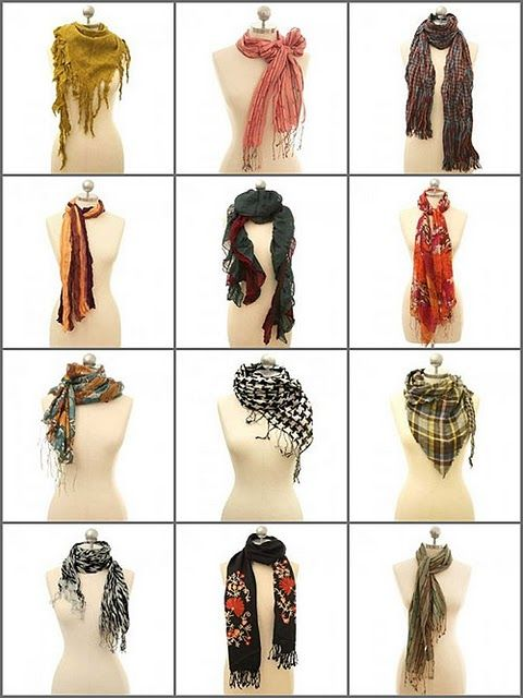 Scarf - how to wear options.: Scarf Style, Idea, Fashion, Wear A Scarf, Outfit, Scarfs, Tie A Scarf, 12 Ways