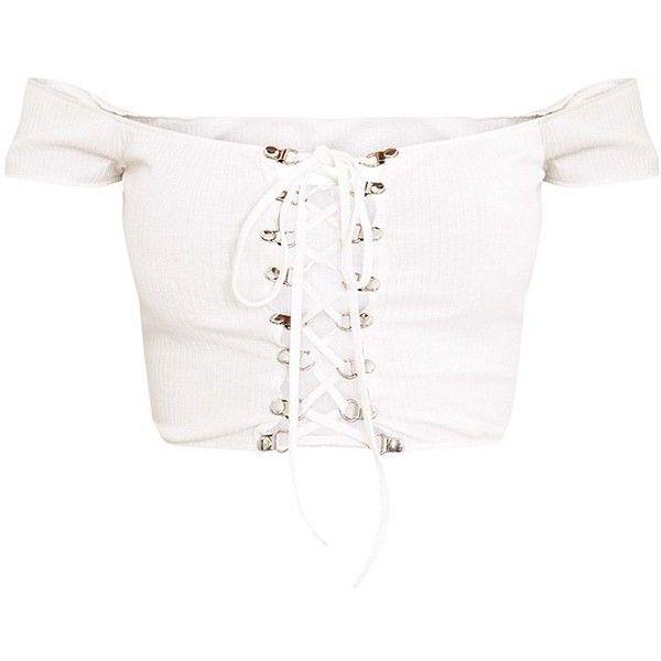 Lia White Ribbed Bardot Corset Detail Crop Top ❤ liked on Polyvore featuring tops, cropped tops, crop corsets, white crop corset, corset tops and corsette tops