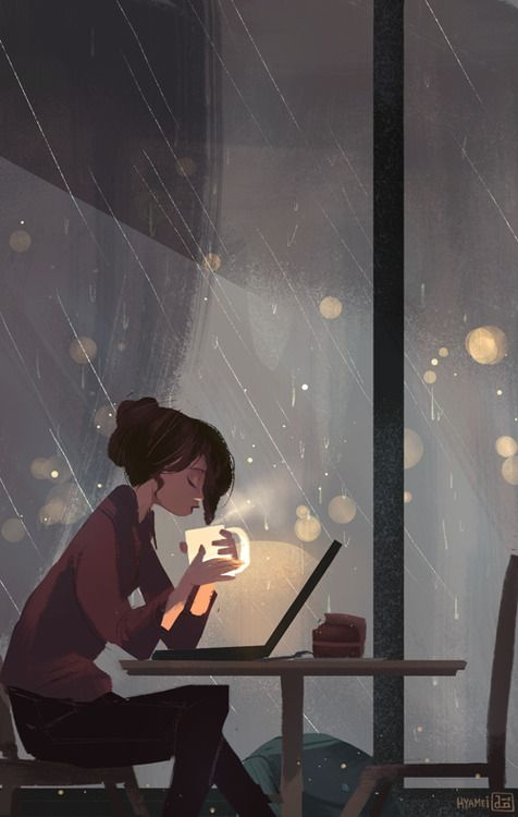 A cozy art for a stormy weather. By Abigail Dela Cruiz on Tumblr! Follow her for her amazing art!