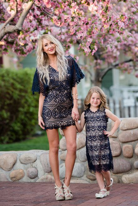 Mommy and Me Crochet Boat Neck Dress Navy - Ryleigh Rue Clothing by Modern Vintage Boutique