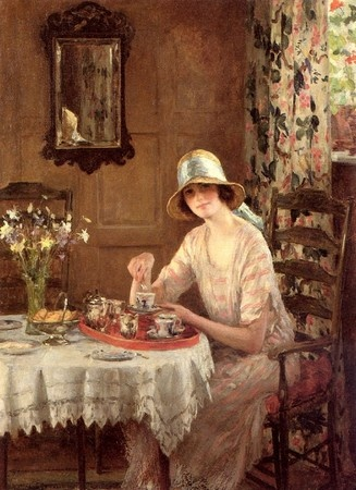 """Afternoon Tea"" by William Henry Margetson 1861-1940. This is one of the most beautiful paintings ever! Why can't I paint like that?:"
