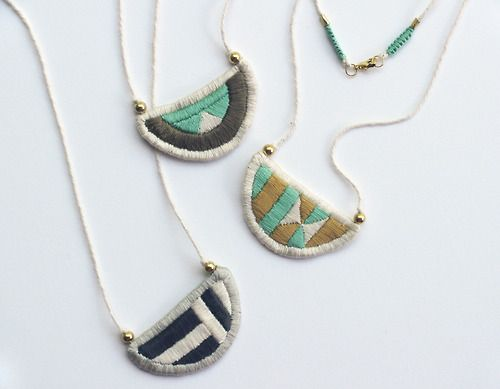 If all goes as planned, these will (hopefully) be necklaces. #embroidery  #jewelry  #kari breitigam