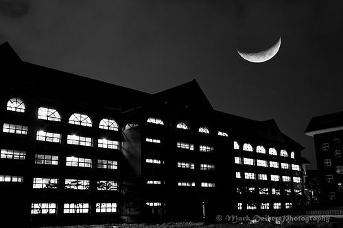 Crescent Moon Hanging Over Daeil International School, Seoul, Korea