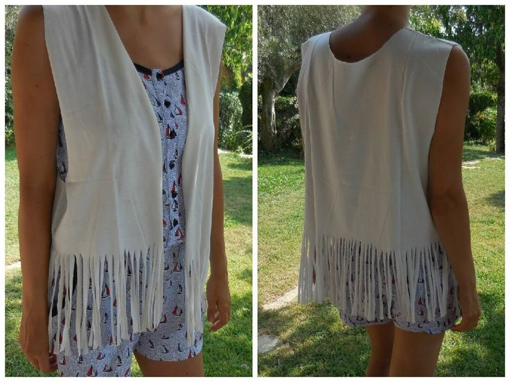 ✂ Transformer un t-shirt en gilet à franges /Fringe vest from t-shirt DIY