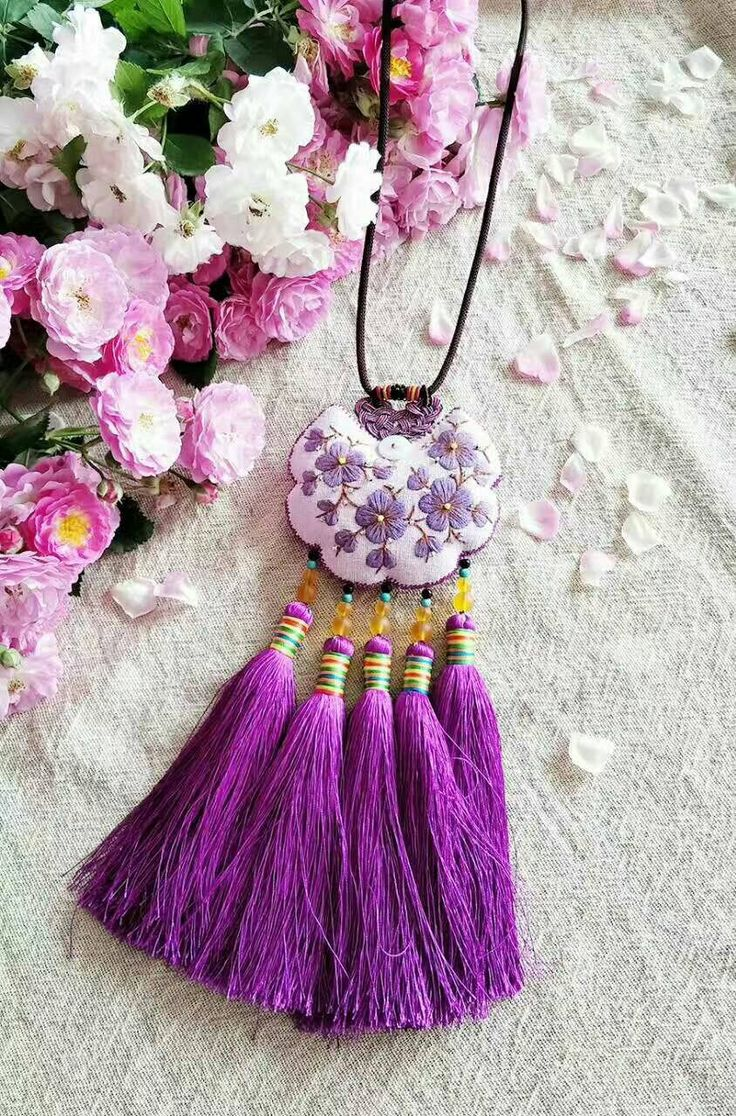 Pure Hand Embroidery Sachet Accessories Diy Jewelry A Unique Necklace In  The World