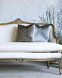 Vintage 1940's Louis XV French Style Shabby Gilt Settee Sofa-antique, gilt, gold,furniture, couch,couch,livingroom,upholstered,romantic,elegant,paint,