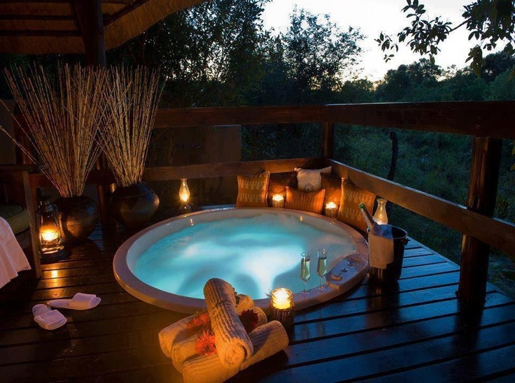 The porch with a hot tub should be outside of my bedroom