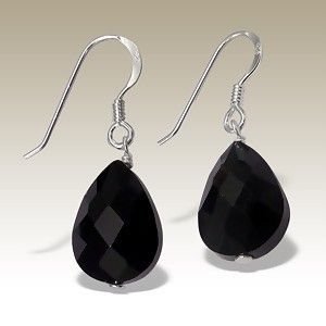 Black Crystal Silver Earring A$20