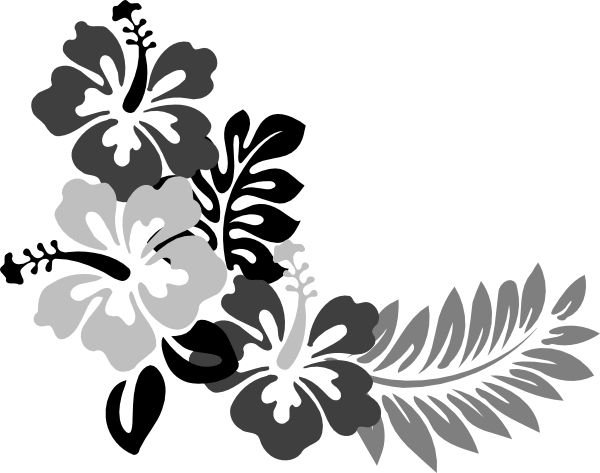 Hawaiian Flower Stencils | Grey Hibiscus 2 clip art