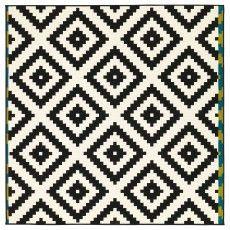 ЛЭППЛЬЮНГ РУТА Ковер, короткий ворс, белый, черный 200x200 см 40227902