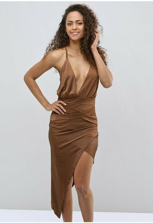 5627202553370 I Saw It First Chocolate Deep Plunge Strappy Wrap Dress Size UK 14 DH091 CC  20 #fashion #clothing #shoes #accessories #womensclothing #dresses (ebay  link)