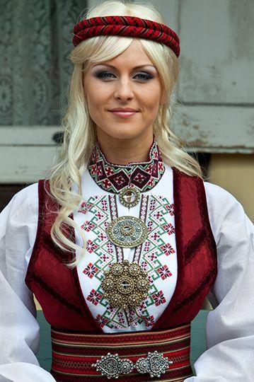 Norwegian girl in folk costume:
