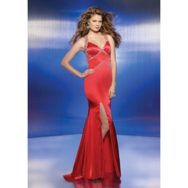 Terrific Satin Sheath/Column Halter Fall Sleeveless Split Front Natural Red Special Occasion Dresses