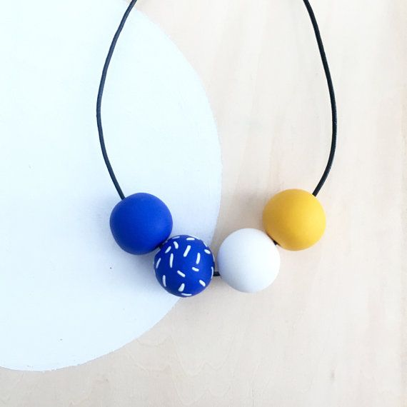 modern blue yellow white colorful polymer clay necklace handmade by accentvault | unique whimsical happy gift for her