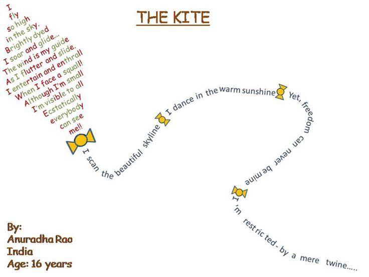 Famous Shape Poems | true shape poem in the shape of a kite