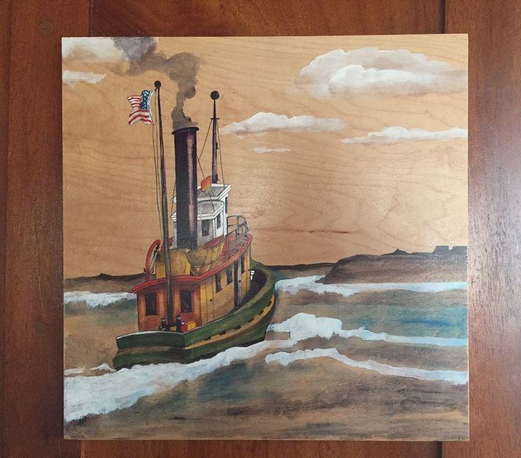 Nautical Maritime Boat Original Painting Steam Tug Antique  | eBay