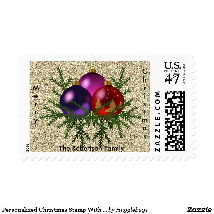 Personalized Christmas Stamp With Baubles