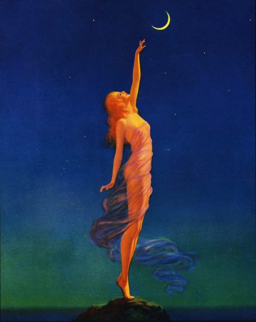 """New Moon in Taurus, April 26, 2017 – Back to Earth    Edward Eggleston, """"Reaching For The Moon"""" (c. 1930)."""