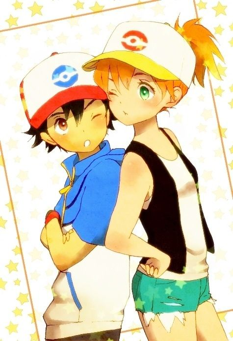 Pokemon Satoshi/Ash and Kasumi/Misty dressed as White/Hilda