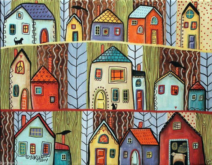 Neighbors 14x11 Houses Birds Cats Hearts ORIGINAL Canvas PAINTING FOLK Karla G ..new painting, now for sale..