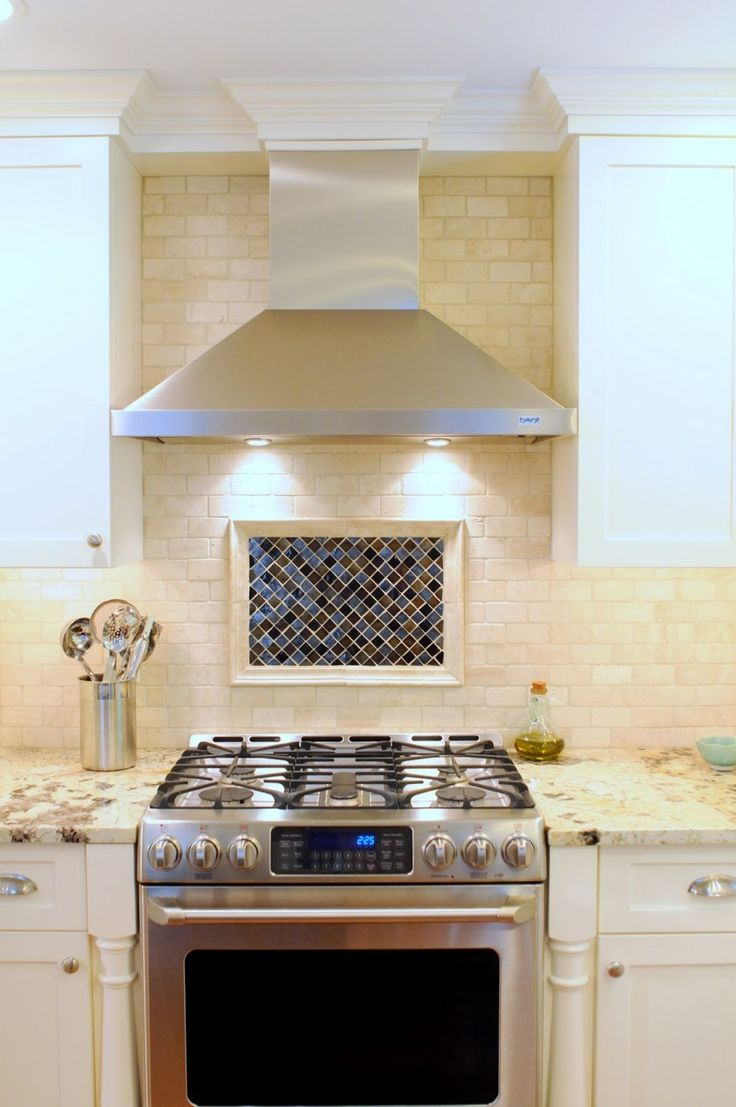 Amazing Hood Designs Kitchens Decoration With Stainless Steel Chimney Range Hood Combined Recessed Lighting On Wall Mounted Ceramic Tiles Also Square Mosaic Back Splash Featuring Cool Stove And Nice Appliances Ideas. A kitchen with a simple minimalist look and provide other colors in the selection of the design of a kitchen. Additional furniture will be easily installed in all corners of the room. A delightful combination of curved and angular surfaces gives this handcrafted chimney hood a…