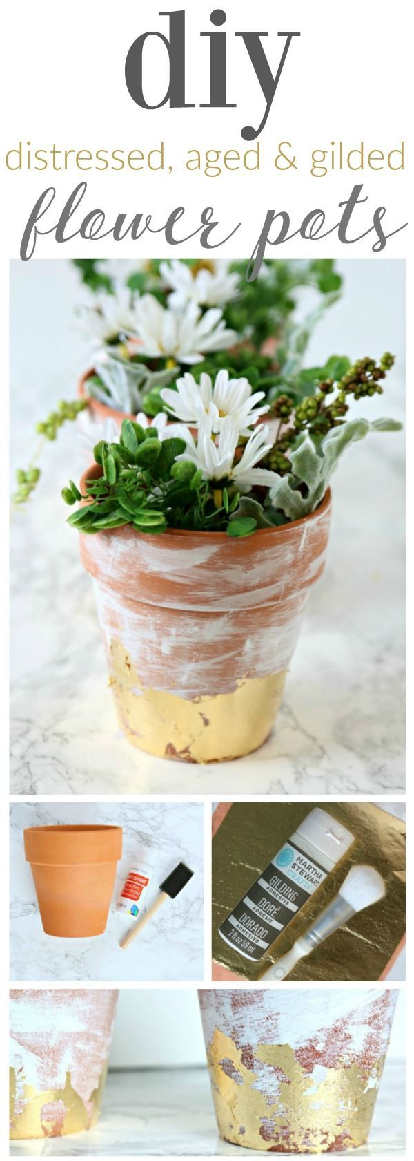 Top 30 stunning low budget diy garden pots and containers 187 home - Diy Distressed Gold Leaf Terracotta Pots