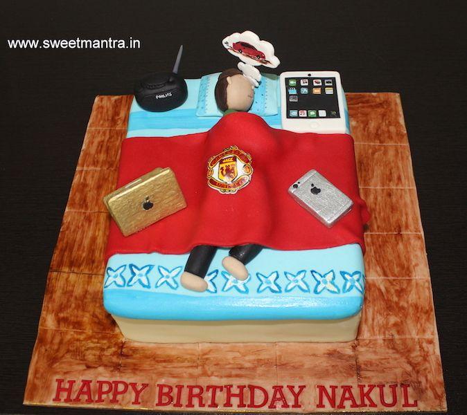 Lazy Husband Theme Customized Bed Shaped Designer Cake With Macbook