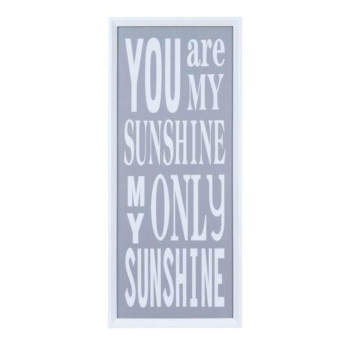 Tableau en plastique blanc 30 x 70 cm YOU'RE MY SUNSHINE