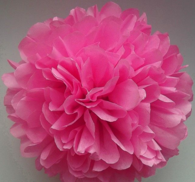 1 Różowy Papierowy PomPom - PaperPomPoms - Dekoracje ślubne