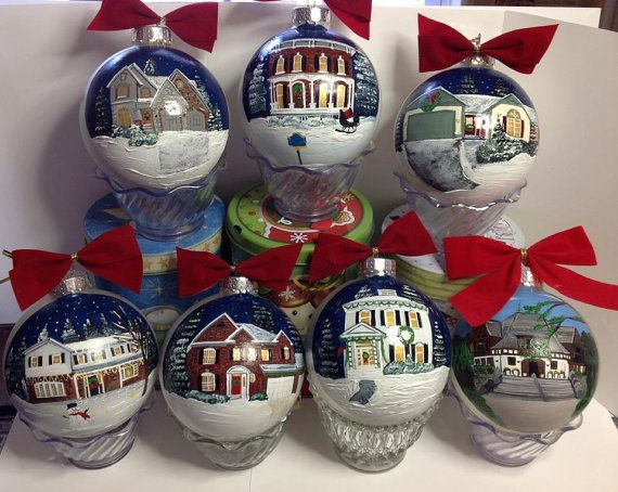 House Ornaments by HANDPAINTEDBYCYNDIE on Etsy, $49.95