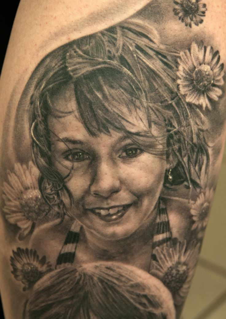 Tattoo Artist: Andy Engel Portraits/Tattoos I did of beloved ones for example children, grandparents or parents. All tattoos done by Andy Engel. Some pictures are fresh and some of healed tattoos. Tattoo artist since 1994, based in Marktsteft (Germany). Andy Engel, today known as one of the worlds best tattoo artists for photorealism and for nearly ten years now, three-dimensional nipple pigmentation after breast cancer.
