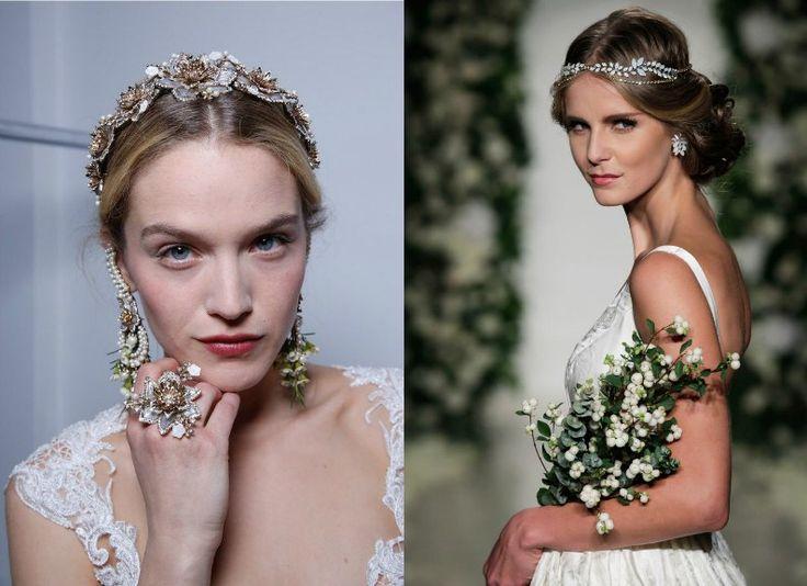 Gioielli da Sposa 2017  Un'altra tendenza importante della stagione 2017 sono i bellissimi gioielli per capelli da sposa. Come regola devono avere un motivo floreale, come vediamo in Marchesa e Anne Barge.
