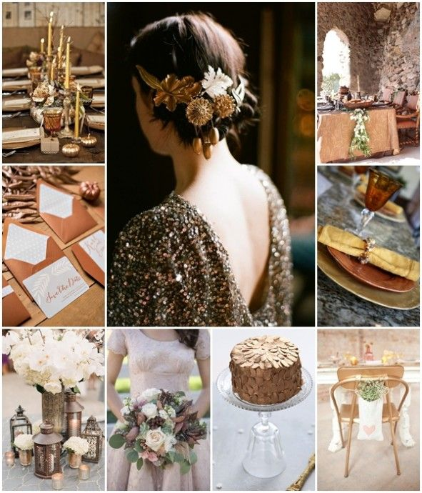 Fusionner force et élégance pour la décoration d'un mariage tout en bronze