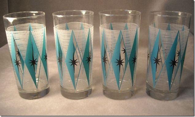 Vintage Turquoise Diamond and Starburst Drinking Glasses
