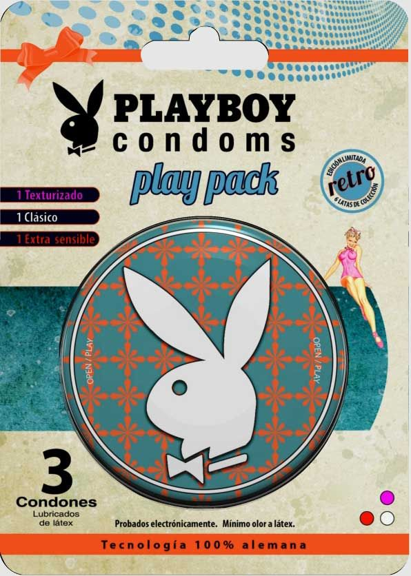 Los condones Playboy siempre se han caracterizado por ser condones de excelente calidad, además de venir en un empaque cómodo e innovador que puedes conservar después de la acción; en esta ocasión  presenta su primera edición especial de colección: Play Pack Edición Retro.