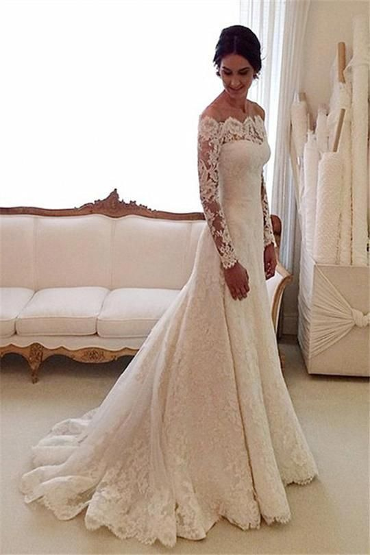 A-line/Princess Off-the-shoulder Full/Long Sleeves Lace Bridal Wedding Dresses #…