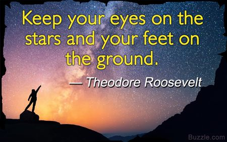 Good High School Yearbook Quotes : Keep your eyes on the stars and your feet on the ground. - Theodore Roosevelt