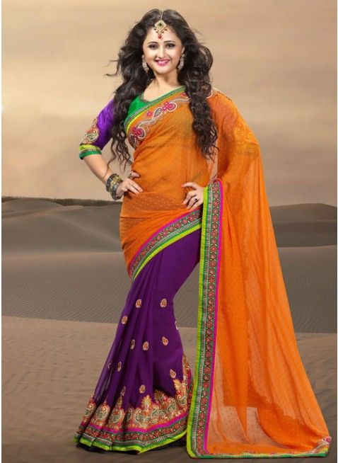 Stunning Purple & Orange Georgette #Saree With Beautifully Crafted Borders