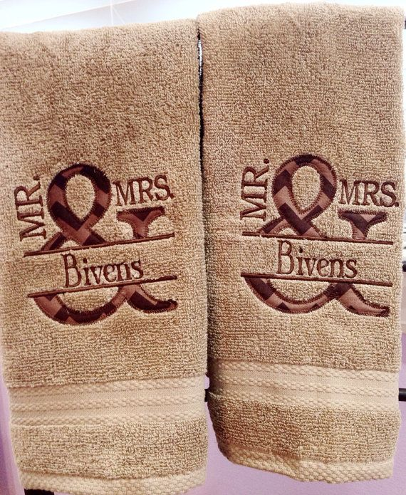 Mr. and Mrs Couples Hand Towel Set of 2 Last by SouthernStitchery