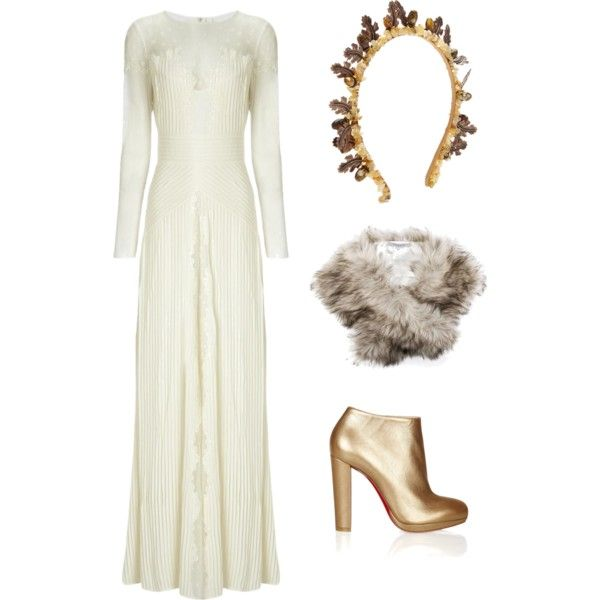 By anitatxu. A fashion look from February 2015 featuring Temperley London gowns, Christian Louboutin ankle booties and Masterpeace hair accessories. Browse and shop related…