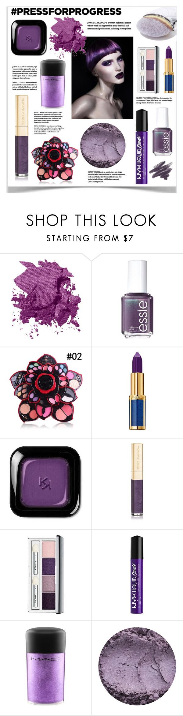 """""""Purple Beauty"""" by hellodollface ❤ liked on Polyvore featuring Wella, Bobbi Brown Cosmetics, Essie, Balmain, Dolce&Gabbana, Clinique, Charlotte Russe, MAC Cosmetics, Mermaid Salon and Beauty"""